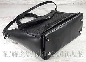601 Натуральная кожа, женская сумка-тоут трапеция, сумка черная Сумка кожаная черная сумка из натуральной кожи, фото 3