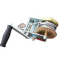 Лебедка рычажная барабанная стальной трос тяговое усилие 900 кг, Intertool GT1455