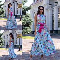 Нарядное женское удлиненное платье декорировано цветочным принтом под пояс. Арт - 2647/23, фото 1