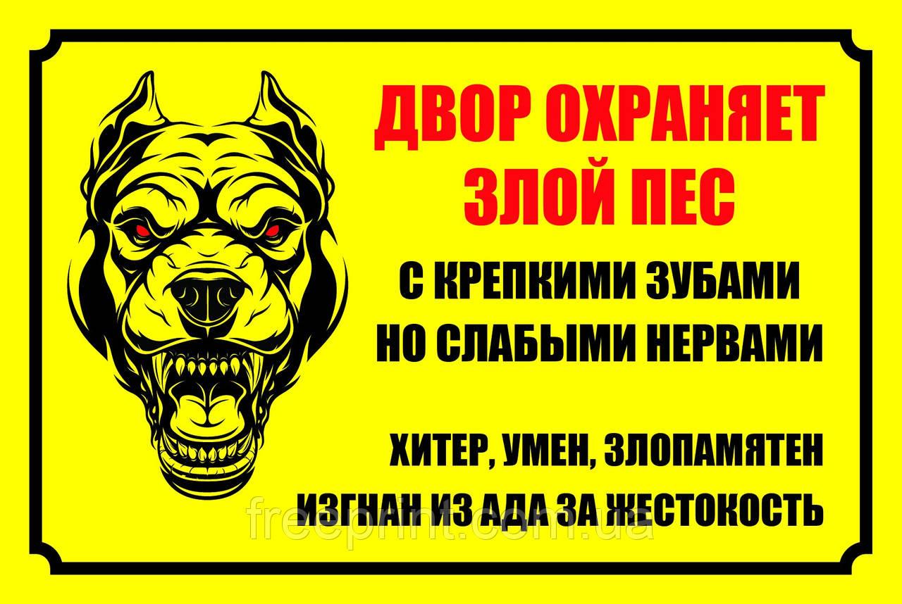 Табличка осторожно собака. Печать по предоплате