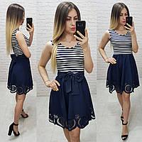Комбинированное платье в морском стиле, синяя полоска, арт 170
