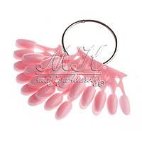 Веер-корона, типсы для образцов на кольце, 60шт, розовый