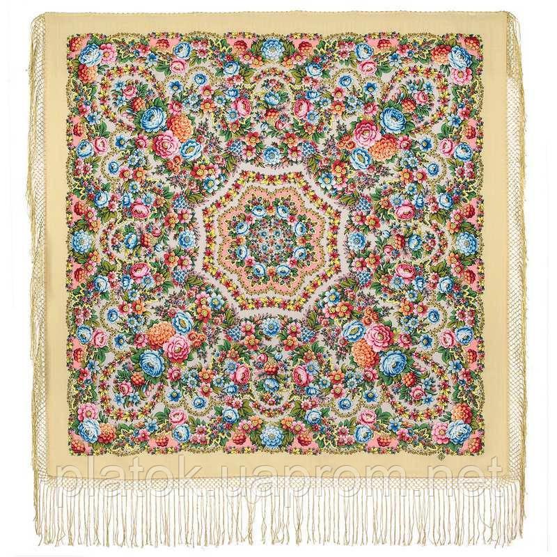 Павловопосадский 1816-1, павлопосадский платок (шаль) из уплотненной шерсти с шелковой вязанной бахромой