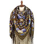 Павловопосадский 1816-16, павлопосадский платок (шаль) из уплотненной шерсти с шелковой вязанной бахромой, фото 3