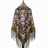 Павловопосадский 1816-16, павлопосадский платок (шаль) из уплотненной шерсти с шелковой вязанной бахромой, фото 2