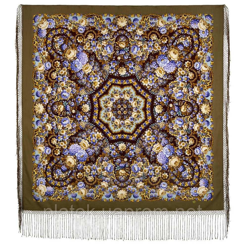 Павловопосадский 1816-16, павлопосадский платок (шаль) из уплотненной шерсти с шелковой вязанной бахромой