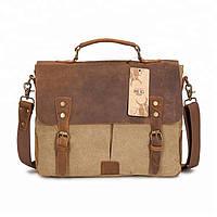 Мужской портфель из лошадиной кожи и ткани Canvas BUG песочный