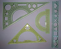 Набор геометрический, 4 предмета: треугольник 30*60*90, треугольник 15 см, линейка 20см), , в пак.26 *11см, Украина