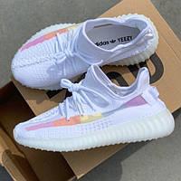 Женские кроссовки в стиле Adidas Yeezy Boost 350 v2 Ice Cream (Полоса меняет цвет на солнце)
