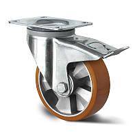 Поворотное колесо с тормозом диаметр 125 мм алюминий/полиуретан шариковый подшипник нагрузка 300 кг