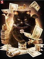 """Алмазная мозаика """"Денежный кот"""", картина стразами 25*30см"""