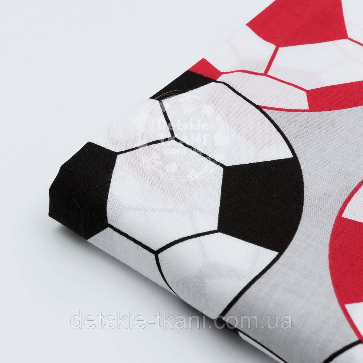 """Лоскут ткани """"Футбольные мячи"""", цвет красный и чёрный, №1168, размер 26*80 см"""
