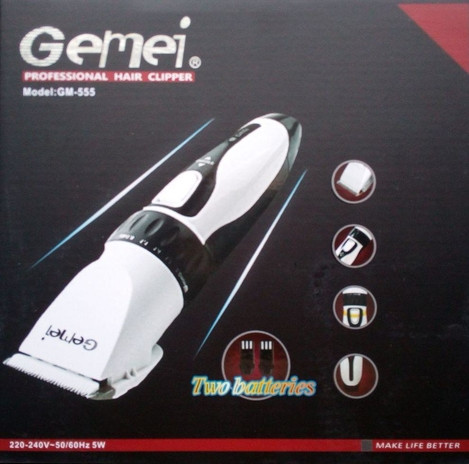 Аккумуляторная машинка для стрижки волос Gemei Gm-555 2 аккумулятора