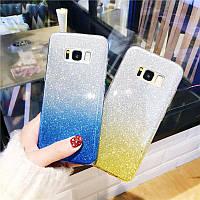 Силиконовый чехол с блестками - градиент для Samsung Galaxy J6 Plus (2018) (выбор цвета)