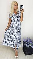 """Летнее батистовое миди-платье на запах """"Ивонна"""" с коротким рукавом (большие размеры)"""