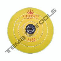 Круг муслиновый полировальный CROWN Ø150 мм, 50 слоев желтый с кожаным пятаком