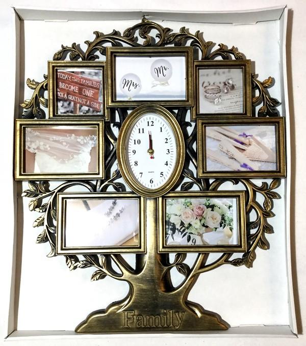 """Рамка коллаж на 7 фото + часы """"Дерево"""",  (WF-118 )"""