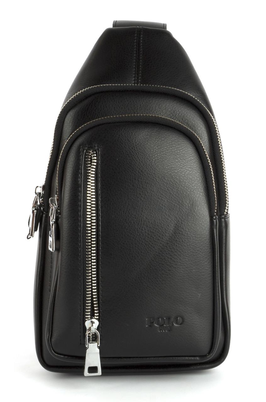 Стильная небольшая мужская сумка рюкзак с кожи PU POLO art. B1105 черная