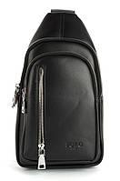 Стильная небольшая мужская сумка рюкзак с кожи PU POLO art. B1105 черная, фото 1