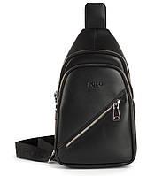 Стильная небольшая мужская сумка рюкзак с кожи PU POLO art. B1108 черная, фото 1
