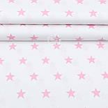 """Лоскут ткани """"Одинаковые звёзды 3 см"""" розовые на белом №2014, фото 2"""
