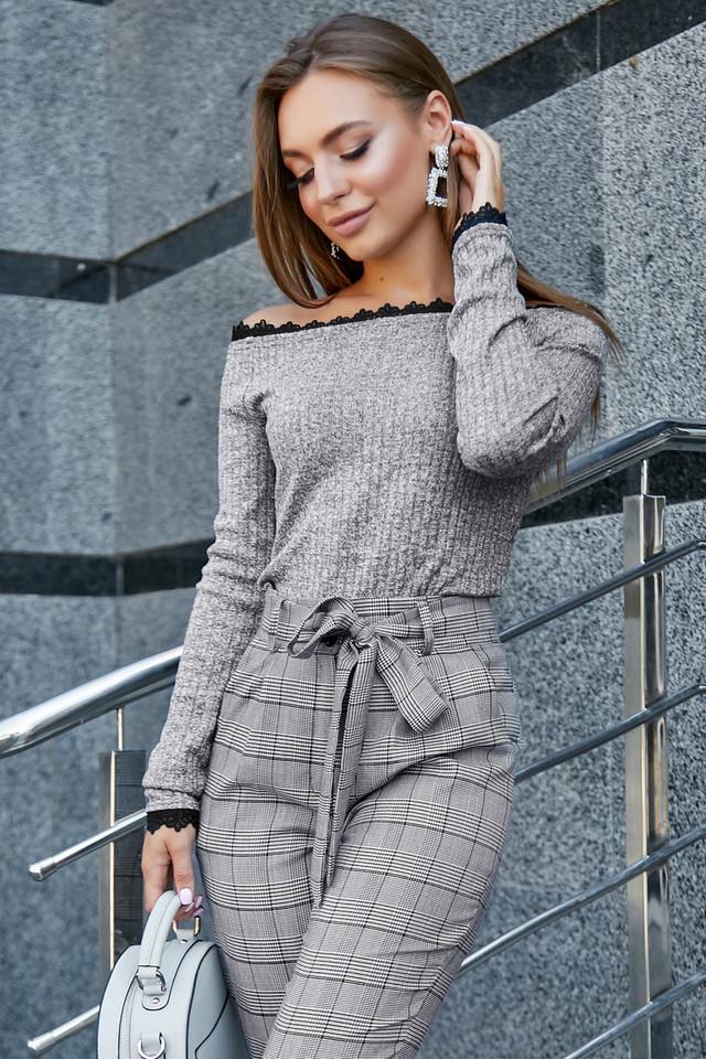 Женская трикотажная кофта, серый с люрексом, повседневная, молодёжная, элегантная, с открытыми плечами