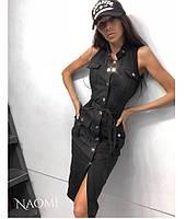 Облегающее джинсовое платье - рубашка на пуговицах спереди без рукава 70033195
