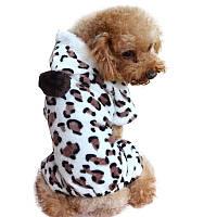 Флисовый комбинезон для собак «Леопард», одежда для собак из флиса для мелких, средних пород