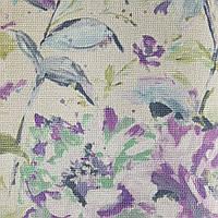 Виниловые обои Grandeco Fiore FO3003 сиреневые цветы на салатном однотоне под ткань