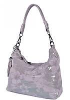 Сумка-мішок жіноча ніжно-рожева з квітами (арт.8062 мікс,срібний) Жіноча шкіряна сумка, фото 1