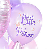 Связка: звезды и сердца сатин сиреневые и розовые и 6 шариков Little princess, фото 3