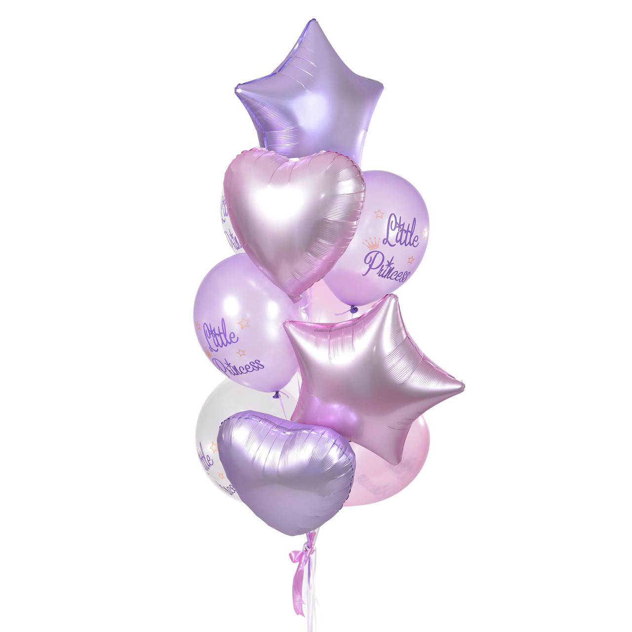 Связка: звезды и сердца сатин сиреневые и розовые и 6 шариков Little princess