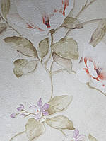 Виниловые обои Grandeco Fiore FO3202 розовые и синие цветы на бежевом однотоне под штукатурку