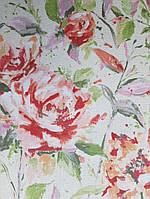 Виниловые обои Grandeco Fiore FO3002 красные цветы на салатном однотоне под ткань