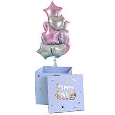 Коробка Happy birthday и связка: сердца и звезды сатин светло-розовые, мятные, и сиреневые