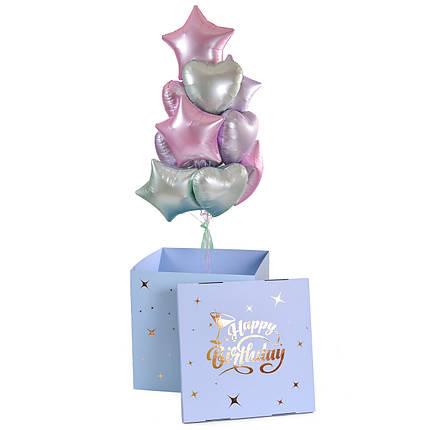 Коробка Happy birthday и связка: сердца и звезды сатин светло-розовые, мятные, и сиреневые, фото 2