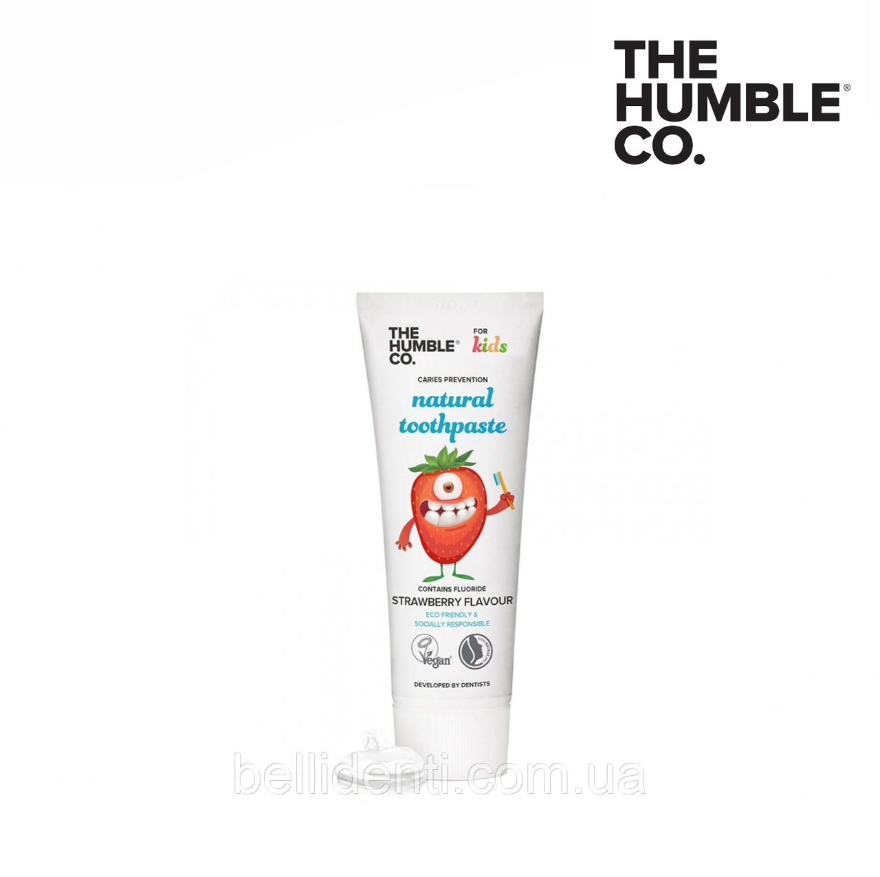Детская натуральная зубная паста The Humble Co (вкус клубники), 75 мл