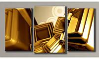 Модульная картина Золотая абстракция 55х104 см (HAT-130)