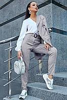 ✔️ Брюки из льна женские со строчкой спереди 44-50 размера серые, фото 1