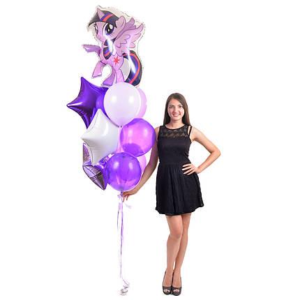 Связка: Пони Твайлайт Спаркл,звезды фиолетовая,сиреневая и белая,3 светло-сиреневых и 3 сиреневых шарика, фото 2