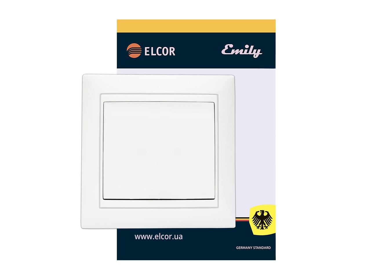 Виключатель одинарный (1-клавишный) Emily 9215 белый ЕLCOR (211540)