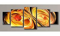Модульная картина Оранжевая абстракция 98,5х245 см (HAB-029)