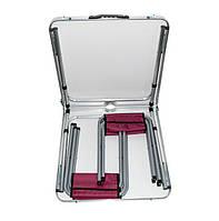 🔝 Набор мебели для пикника раскладной столик +4 стула, складной стол-чемодан на природу, Красный кедр   🎁%🚚