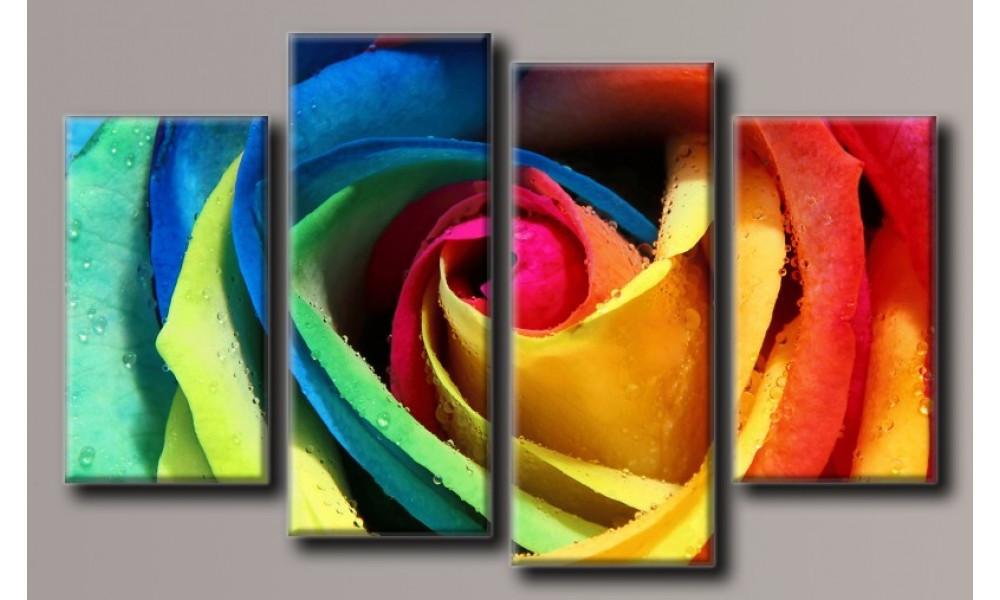 Модульная картина Радужная роза 80х131 см (HAF-128)