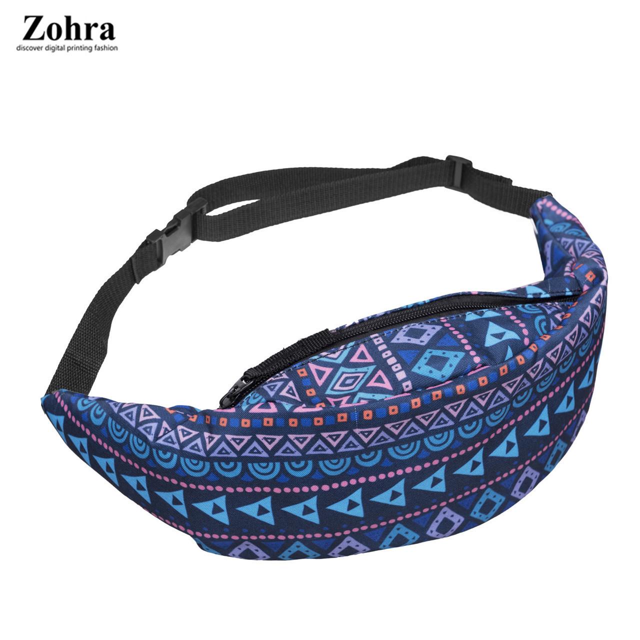 Сумка на пояс Бананка Zohra Узор (синяя)