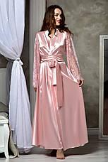 Атласный халат в пол с кружевным рукавом цвет Королевский Розовый от XS до XXXL, фото 2