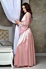 Атласный халат в пол с кружевным рукавом цвет Королевский Розовый от XS до XXXL, фото 3