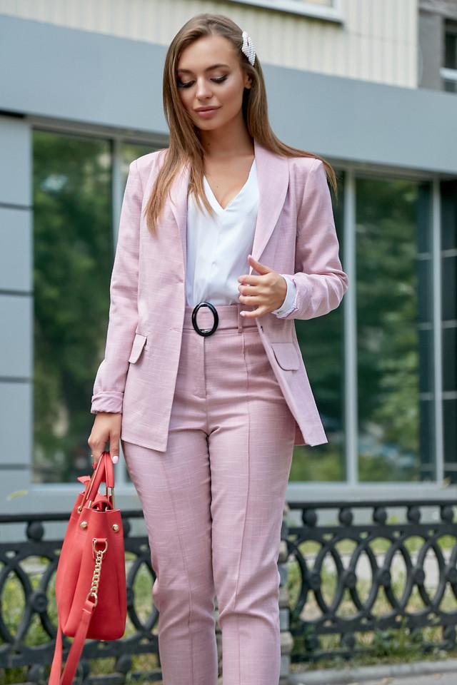 Женский брючный костюм, розовый, лён, классический, повседневный, молодёжный, элегантный, офисный
