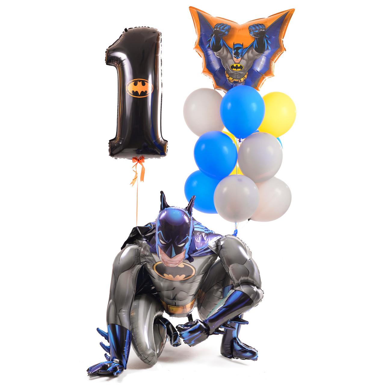 Композиция: ходячая фигура Бэтмен, 12 шариков, фигура Бэтмен в полете и цифра 1 с эмблемой Бэтмена