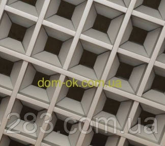 Потолок Грильято пирамида, ячейка 200х200 мм , цвет белый RAL 9003